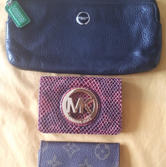 Coach clutch, Michael Kors change purse, LV key